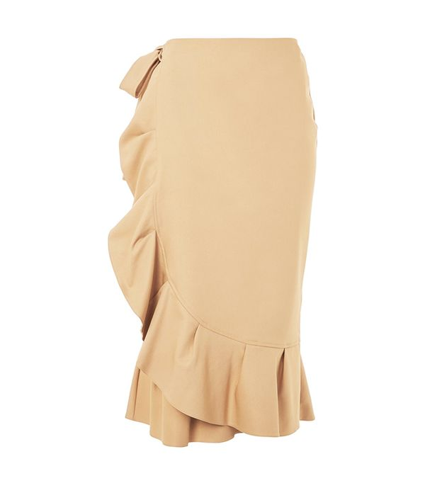 Topshop Cotton Frill Midi Skirt