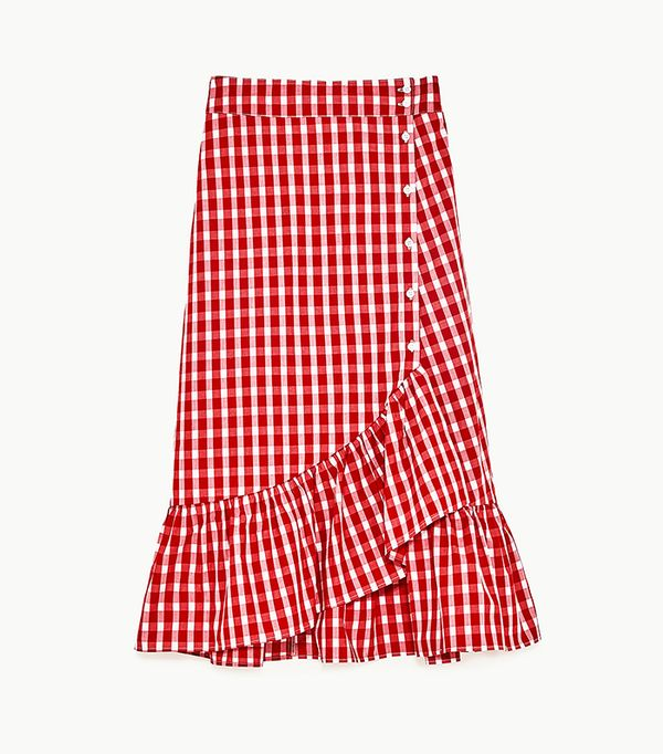 Zara Gingham Frilled Skirt