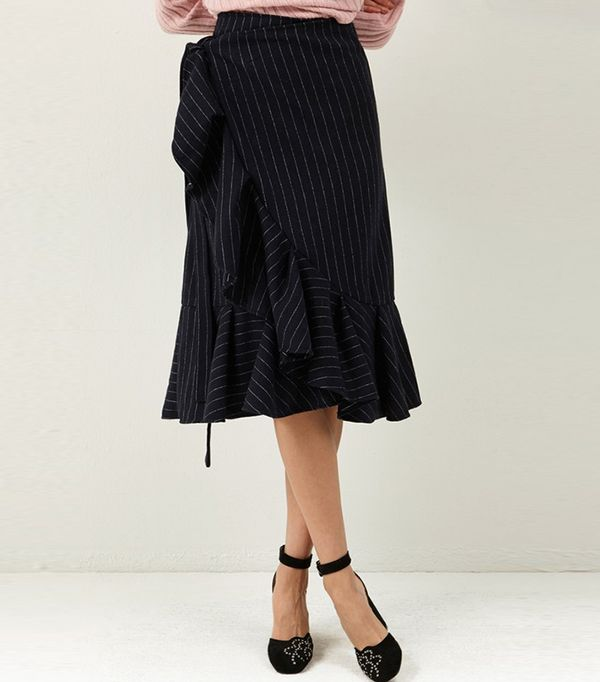 Storets Carolyn Wrap Stripe Skirt