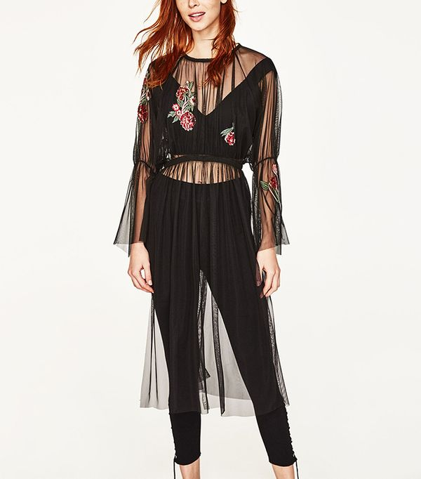 Zara Embroidered Tulle Tunic
