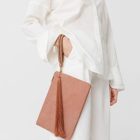 Leather Clutch in Pastel Pink
