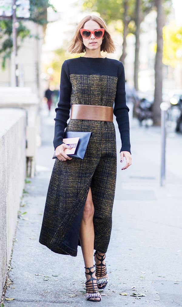 Transform your dress by adding an extra-wide belt over it.