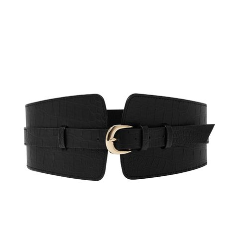 Black Croc Embossed Wide Waist Belt