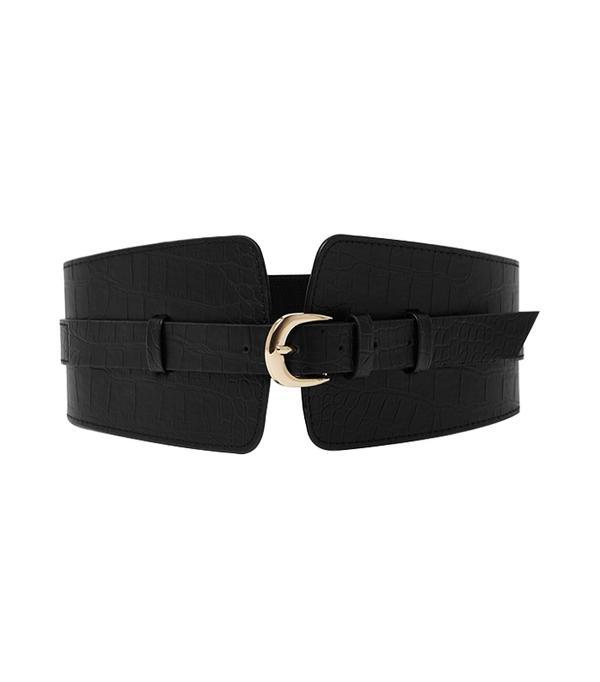 belt trend - River Island Black Croc Embossed Wide Waist Belt