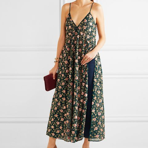 Embellished Embroidered Silk-Georgette Maxi Dress