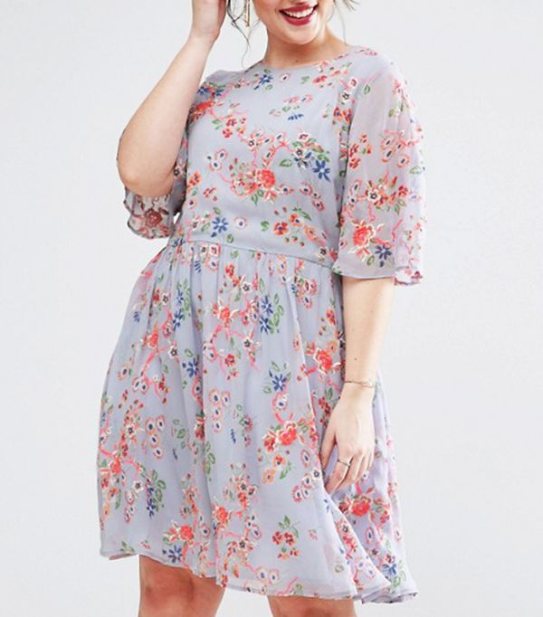 ASOS Curve Premium Pretty Skater Dress with Fluro Floral Embroidery