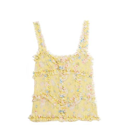 Ana Ruffled Floral-Print Silk-Chiffon Camisole