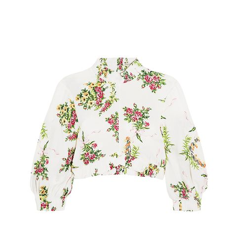 Tamara Cropped Floral-Print Stretch-Crepe Top