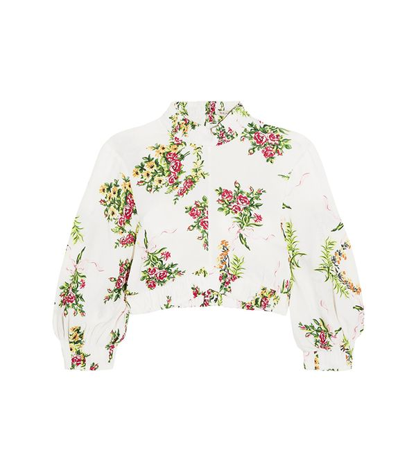 Emilia Wickstead Tamara Cropped Floral-Print Stretch-Crepe Top