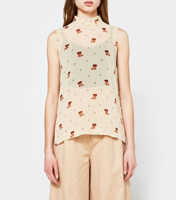 Ganni Newman Top in Biscotti