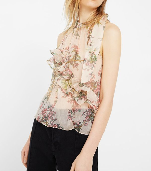 Mango Ruffle Printed Top
