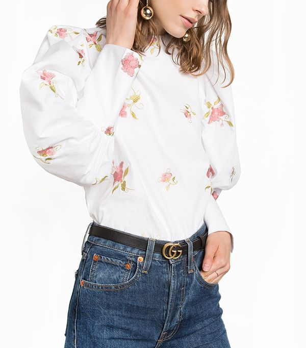 Pixie Market Floral Embroidered Puffy Sleeve Shirt