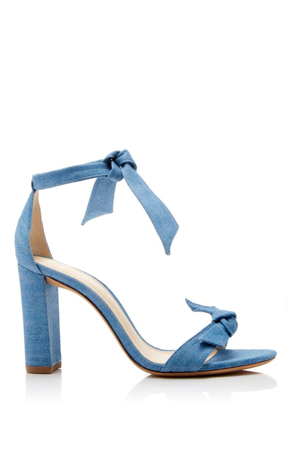 Alexandre Birman Clarita Bow-Embellished Denim Sandals