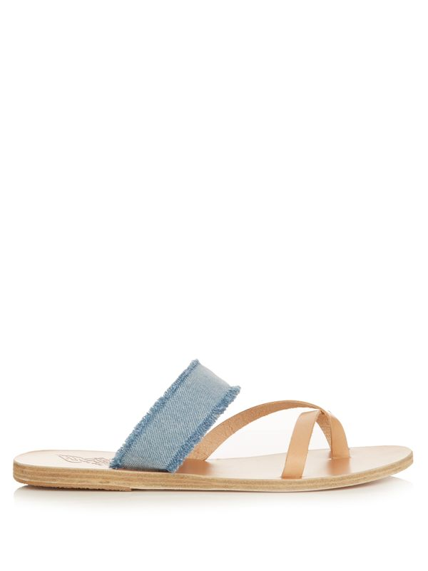 Ancient Greek Sandals` Daphnae Denim and Leather Sandals