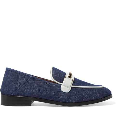 Melanie Leather-Trimmed Denim Loafers