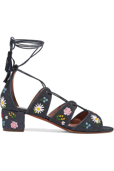 Tabitha Simmons Isadora Embroidered Denim Sandals