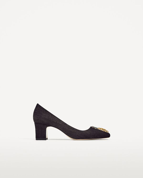 Zara Mid-heel Denim Shoes with Pineapple Detail