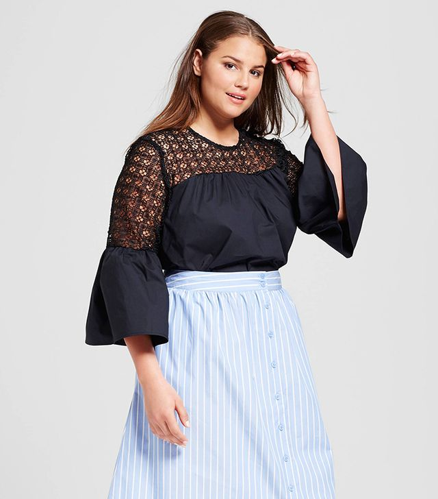 selfie photo trick - Who What Wear Plus Size Eyelet Trim Bell Sleeve Top