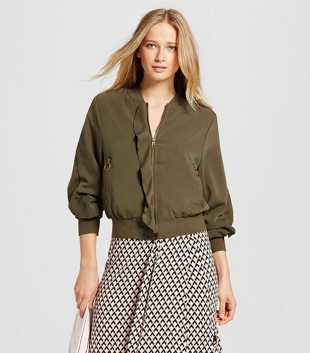 Who What Wear Ruffle Bomber Jacket