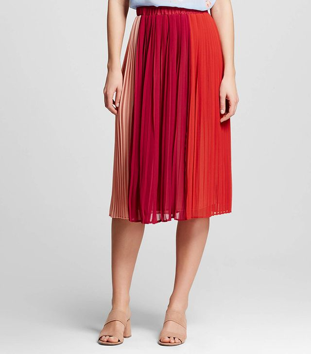 Who What Wear Collection Colorblocked Pleated Midi Skirt