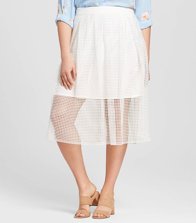 Who What Wear Plus Size Gingham Lace Birdcage Skirt