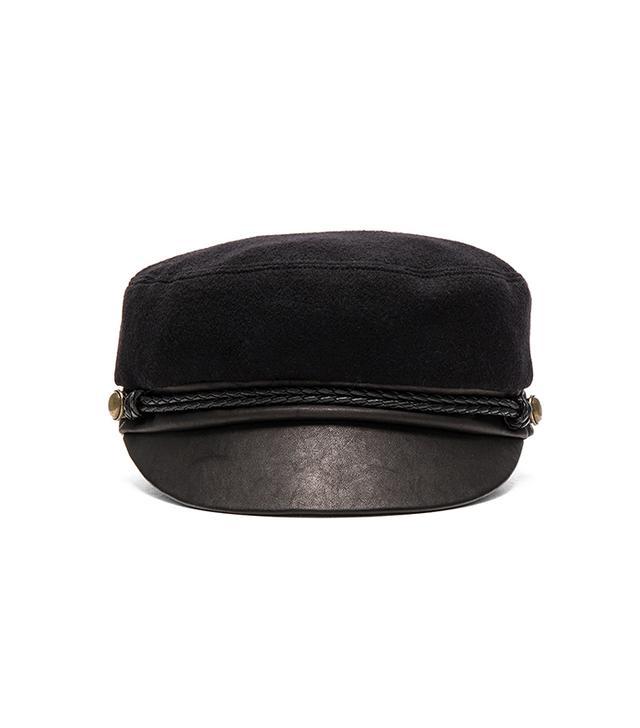 Elyse Camel Hair & Leather Marine Cap