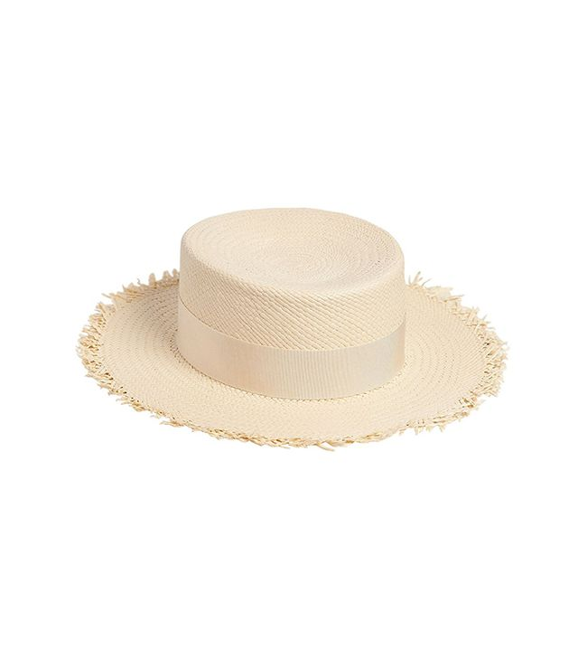 Fringed Flat Top Woven Panama Straw Hat