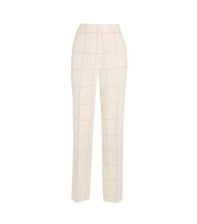Checked Linen Wide-leg Pants