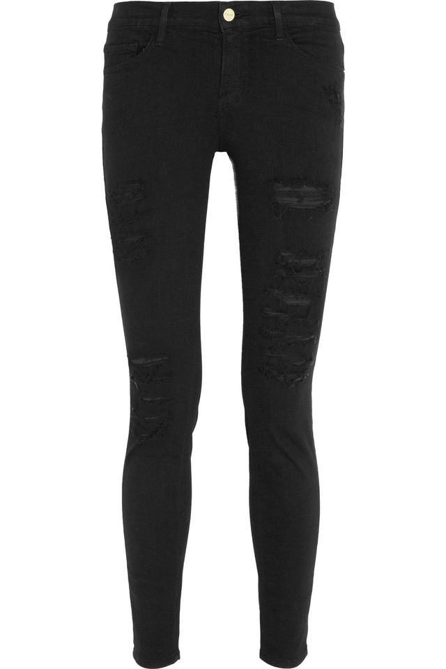 Frame Le Skinny de Jeanne Distressed Mid-Rise Jeans