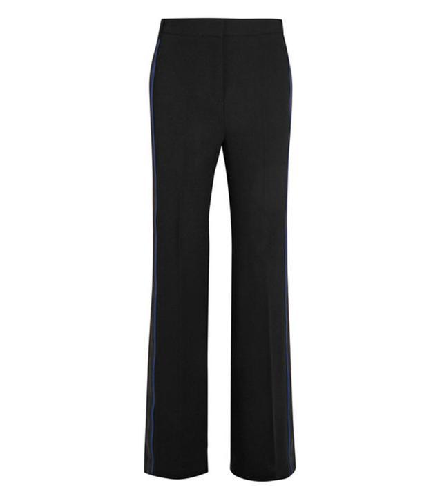 Victoria Victoria Beckham Grosgrain and Satin-Trimmed Crepe Wide-Leg Pants