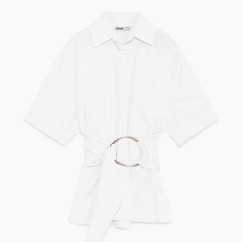 Poplin Shirt With Round Buckle