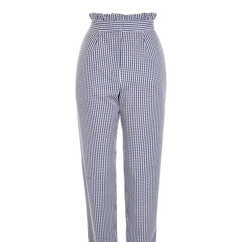 Ruffle Waist Gingham Trousers