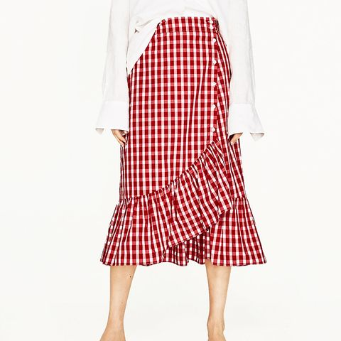 Gingham Frilled Skirt