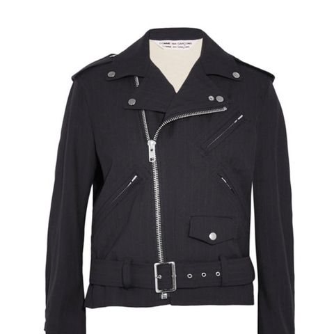 Ruffled Pinstriped Wool Biker Jacket