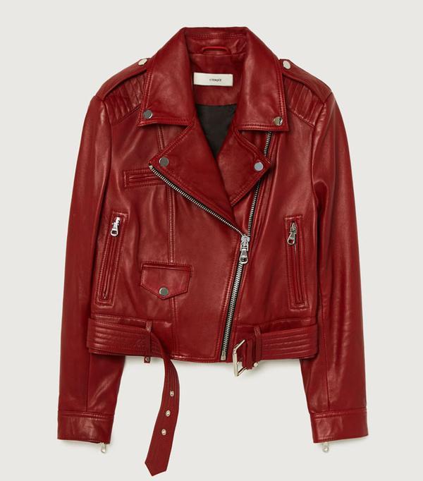 Rei Kawakubo style: Red leather jacket