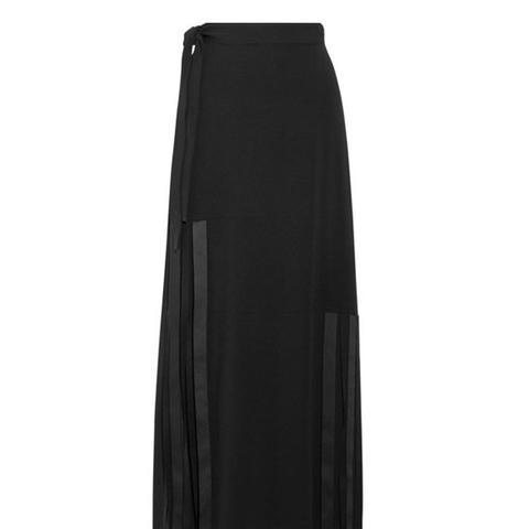 Fringed Stretch-Cady Maxi Skirt