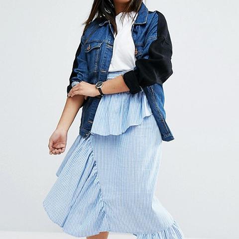 Stripe Deconstructed Midi Skirt