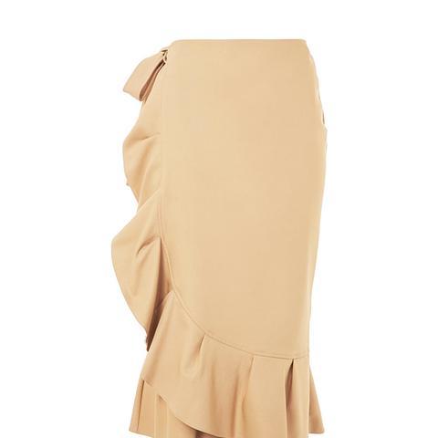 Cotton Frill Midi Skirt