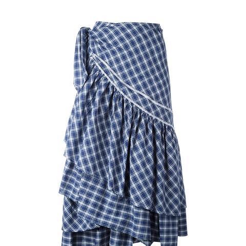 Check Ruffled Skirt