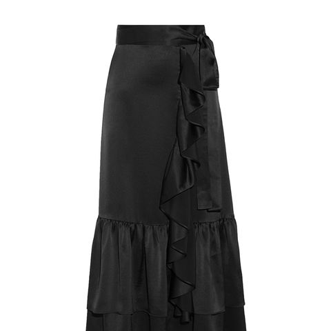 Ruffle-Trimmed Tiered Satin Midi Skirt