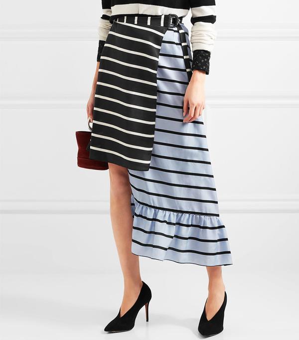 Preen by Thornton Bregazzi Don Striped Washed-Silk Midi Skirt