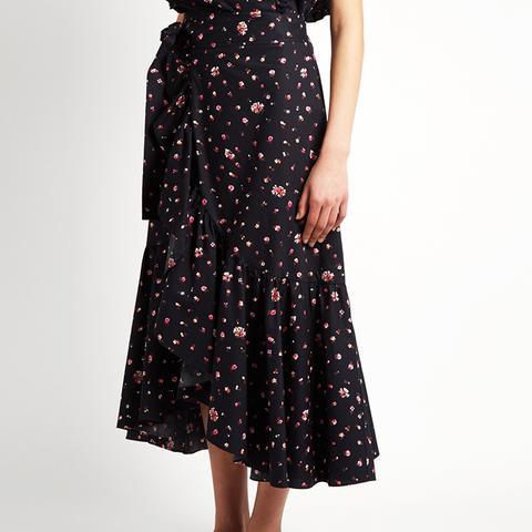 Mia Floral-Print Cotton Wrap Skirt