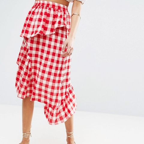 Red Gingham Deconstructed Midi Skirt