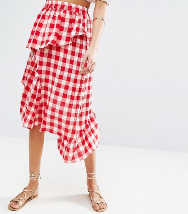 ASOS Red Gingham Deconstructed Midi Skirt