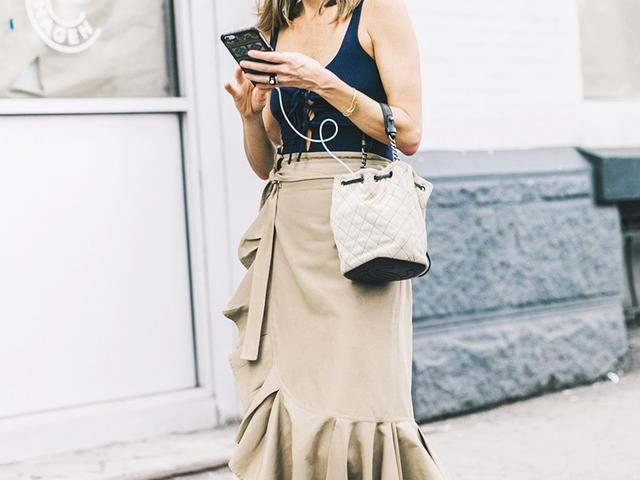 best midi skirts - khaki ruffle skirt