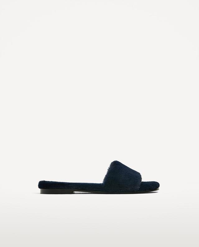 Zara Faux Fur Slides