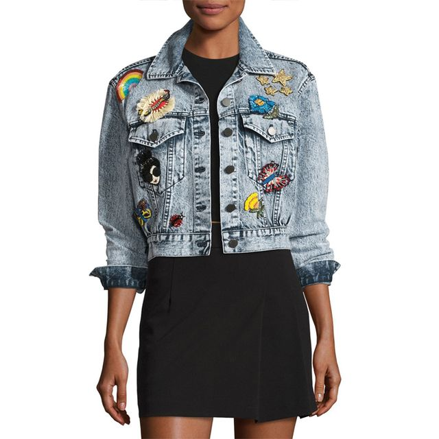 alice + olivia Chloe Cropped Denim Jacket with Patches, #OnlyatNM