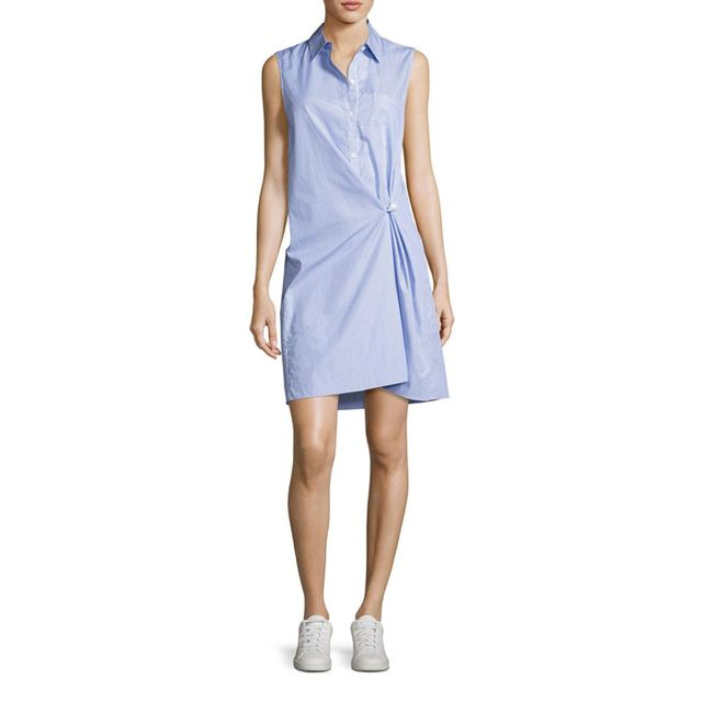 Theory Lenmana Taff Striped Cotton Sleeveless Shirtdress, #OnlyatNM