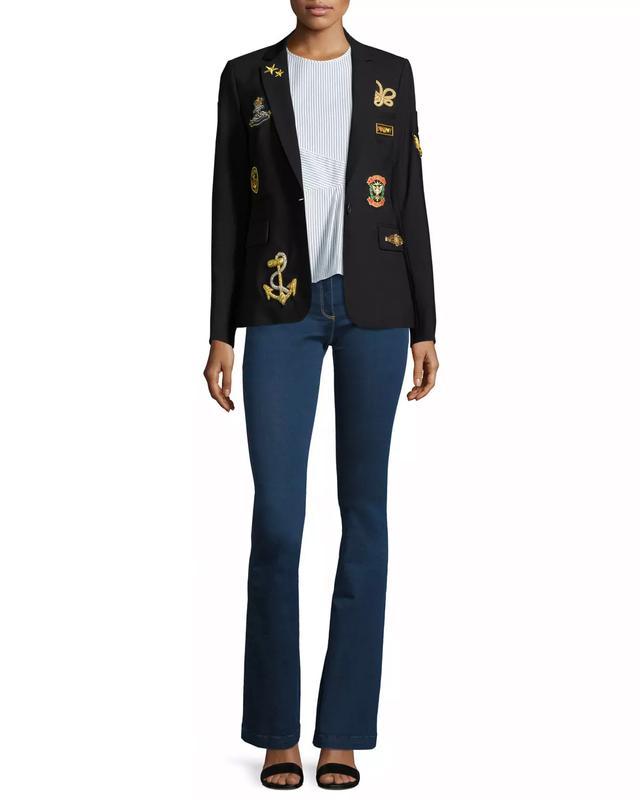 Veronica Beard Classic Patch Jacket, Black, #OnlyatNM