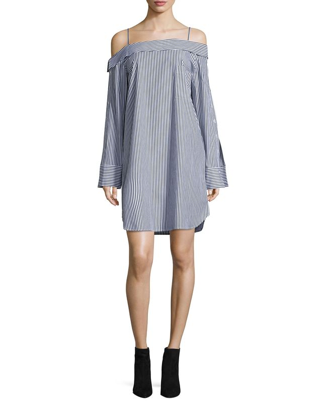 Robert Rodriguez Cold-Shoulder Striped Poplin Dress, #OnlyatNM